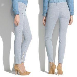 Madewell skinny stripe ankle zip jeans